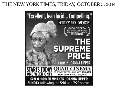 The Supreme Price ad (NY Times, 3.10)